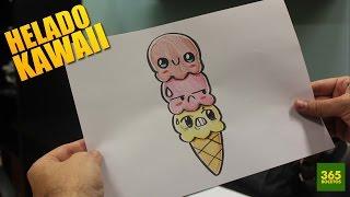 COMO DIBUJAR BOLAS HELADO KAWAII PASO A PASO - Dibujos kawaii faciles - How to draw a ICE CREAM