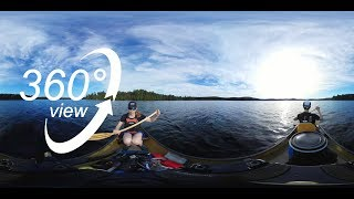 FAR NORTH ALGONQUIN CANOE TRIP - 360° VR VIDEO - DAY 4 - PADDLING & CAMPSITE ON 3 MILE LAKE! (4K)