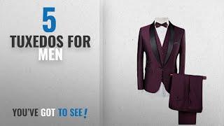 Top 10 Tuxedos For Men [2018]: Men Dinner Suit 3 Piece 1 Button Shawl Lapel Slim Fit Tux Tuxedo