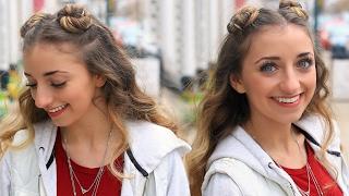 Brooklyns Double-Bun Half Up Hairstyle & HAIR HACK   Cute Girls Hairstyles Tutorial