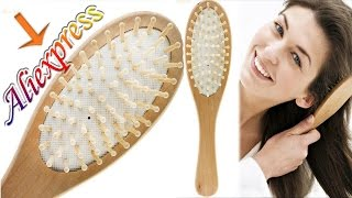 Расческа деревянная массажная с Алиэкспресс, бамбуковые зубчики.