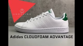 Adidas CLOUDFOAM ADVANTAGE 'ftwrwht/green' | UNBOXING & ON FEET | Fashion Shoes | 2019