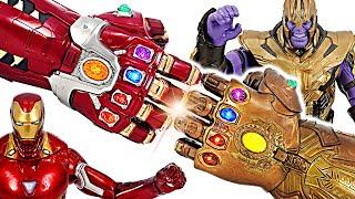 Marvel Legends Iron Man Nano Gauntlet VS Thanos Infinity Gauntlet! | DuDuPopTOY