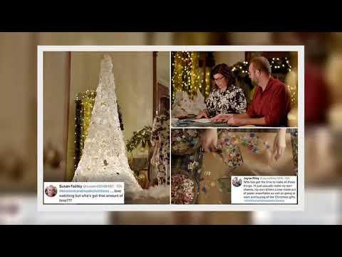 ✅  Kirstie Allsopp hand cut 450 paper snowflakes to create an alternative 9ft 'tree'