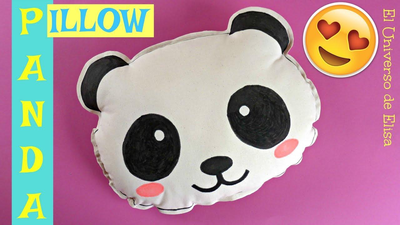 Cojín Oso Panda, Panda Pillow, Decoración Oso Panda, Manualidades Kawaii
