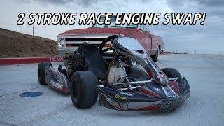 Racing Go Kart Gets A KT100 2 Stroke Racing Engine Swap!