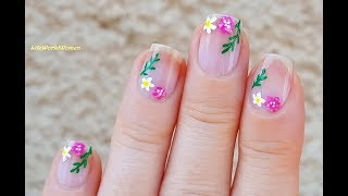 MINIMALIST FLORAL NAIL ART Over Bare Nails