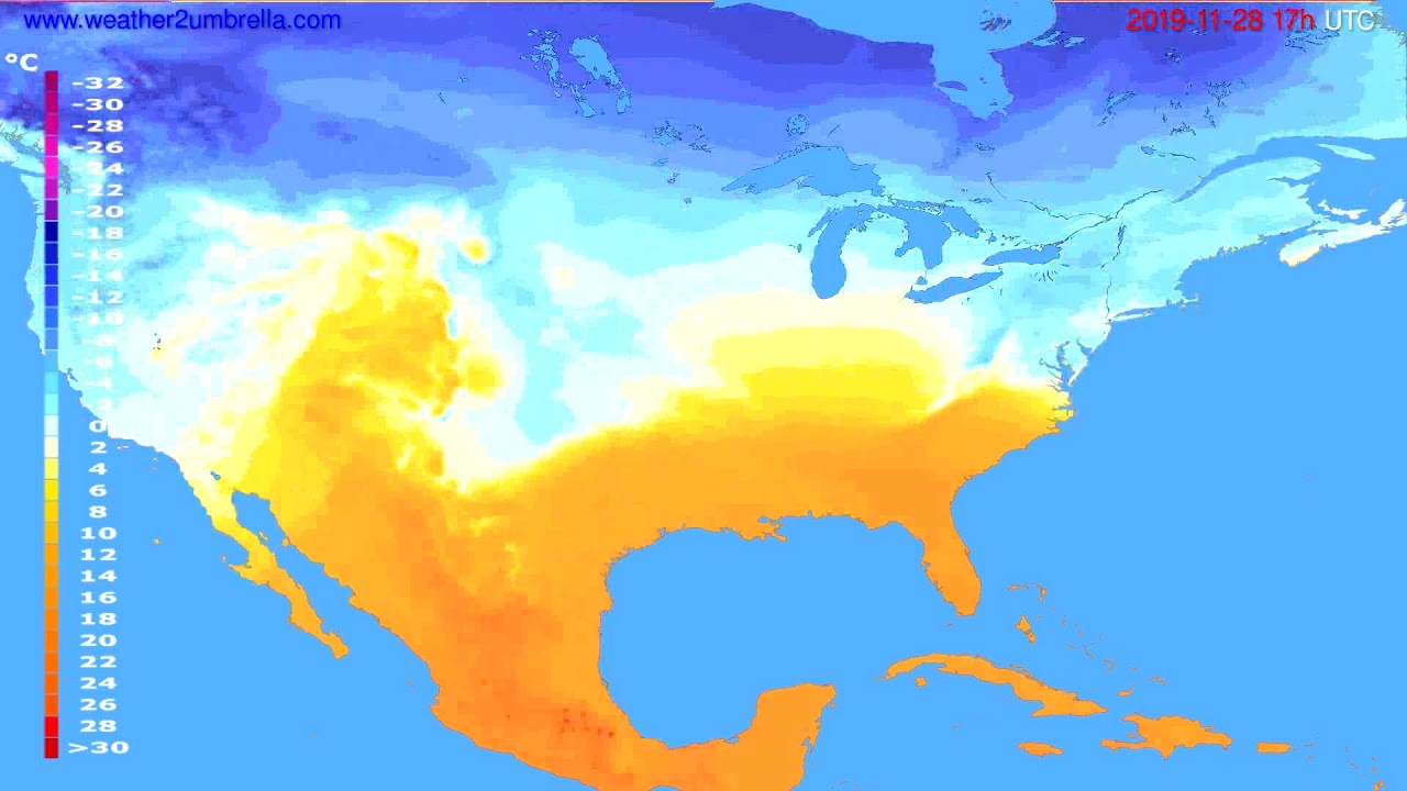 Temperature forecast USA & Canada // modelrun: 00h UTC 2019-11-27