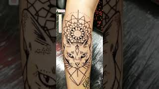 Cat Tattoo - Geometrical Cat Tattoo Design - Cat Tattoo Design For Arm