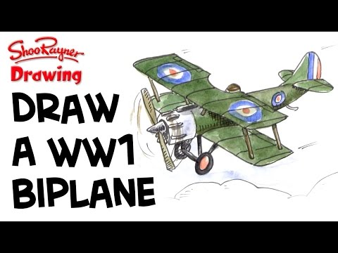 how to draw a ww1 bi plane