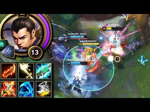 League of Legends but Xin Zhao his passive healing has a 40% AP ratio for lietally no reason lol