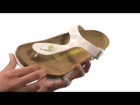 Birkenstock Gizeh Birko Flor Shiny Snake Cream,billige
