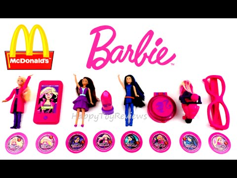 2016 BARBIE McDONALD'S BARBIE SPY SQUAD MOVIE SET OF 8 HAPPY MEAL KIDS TOYS COLLECTION REVIEW