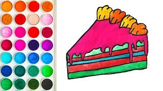 Coloring with Slice of Cake for Toddlers, Painting Step by Step