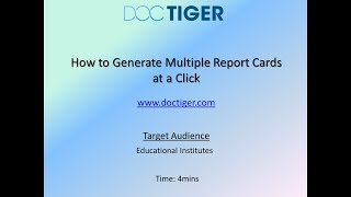 How to Generate Report Cards at a Click-Tutorial