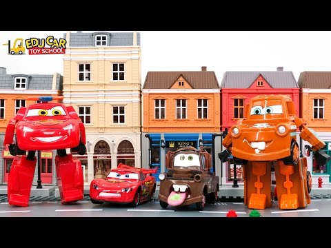 Learning Color Number with Special Disney Pixar Cars Lightning McQueen Transforming kids car toys