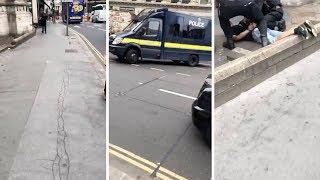 Armed Police Tackle Man After Westminster Crash