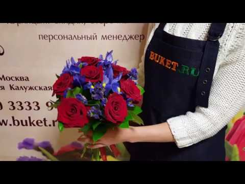 Букет из роз и ирисов «Желание»