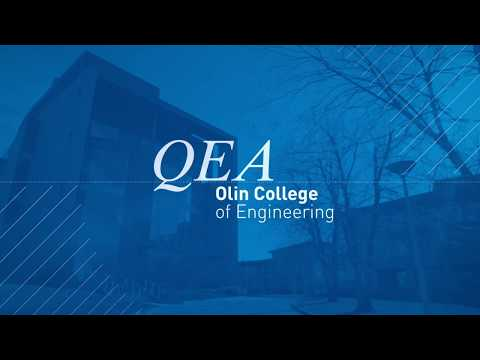 A thumbnail image for a video.  The text QEA Olin College of Engineering appears on a textured blue background