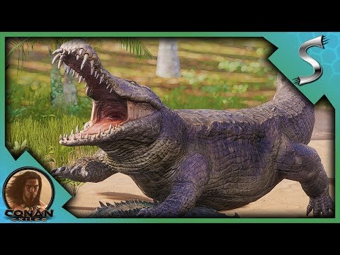 ITS GIGANTIC! TAKING DOWN THE LEGENDARY CROCODILE AND SCORPION! - Conan Exiles Adventures [E3]