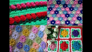 Crochet FLOWER Blanket Afghan Rug Curtains Best Patterns By Marifu6a Collection.