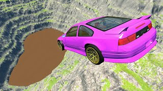 BeamNG drive - Leap Of Death Car Jumps & Falls Into Huge Chocolate Milk Pool