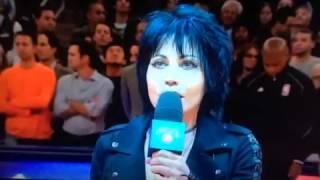 Joan Jett singing national anthem at NY Knick opening night