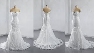 2019 Style Mermaid Lace Wedding Dress Bridal Gown Sweetheart Neckline LR006