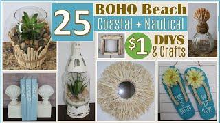 25 DOLLAR TREE DIY BOHO BEACH | COASTAL & NAUTICAL DECOR DIYS | 5 🌞NEW🌞 CRAFTS