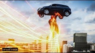 Флэш спасает водителя из летящей вниз машины
