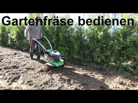 Anleitung zum Betrieb einer Benzin Gartenfräse Bedienen einer Motorhacke Bodenfräse