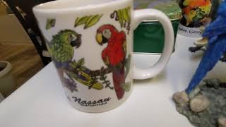 Freedom the Parrot, Coffee Mug from Dottie, Painted Bunting & Metal Bird Cage Frame! Hilton Head