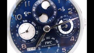 IWC Portuguese Perpetual Calendar Hemisphere Moonphase 18k White Gold Blue Dial IW503203