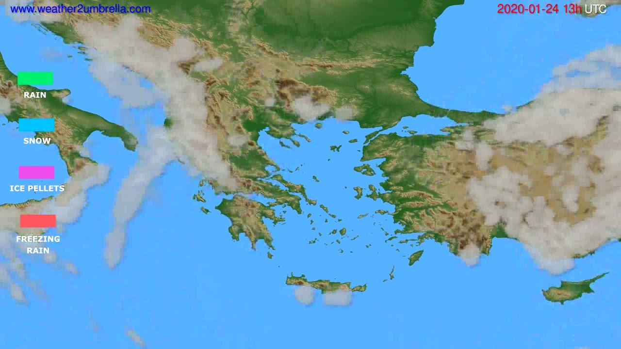 Precipitation forecast Greece // modelrun: 12h UTC 2020-01-23