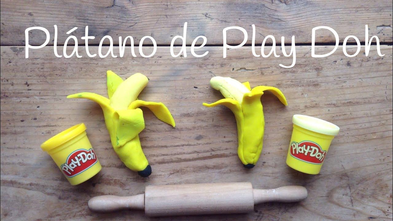 Figuras de COMIDA con plastilina: Plátano | PLASTILINA play doh en español