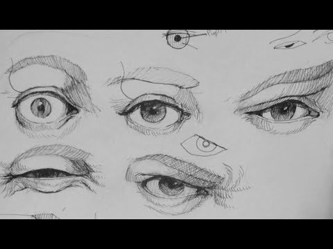 how to draw realistic eye expressions in pen