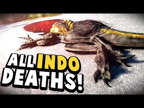 Jurassic World Evolution - INDORAPTOR DEATH BY ALL DINOS - All Indo Death Sequences - JWE Gameplay