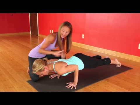 , title : 'Chaturanga Dandasana as taught by Amy Schneider of Cleveland Yoga with Lisa demonstrating'