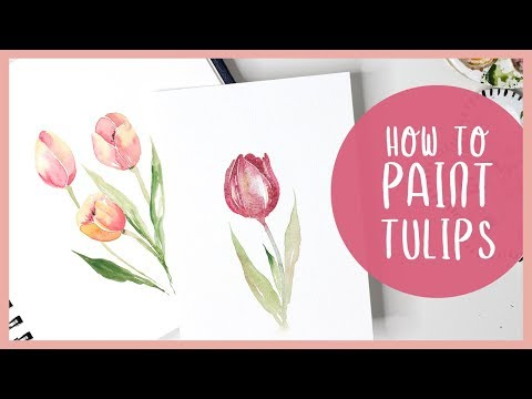 How To Paint Tulips in Watercolor - Painting Tutorial