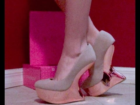HD ShoeDazzle Video review of CORINA Stunning RoseGold Heel-less Wedge