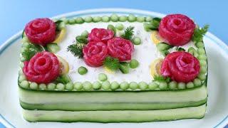 """торт """"8 марта"""" или суши по-русски из красной рыбы рецепт"""