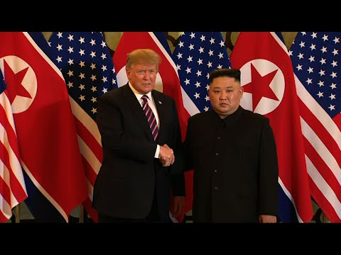US President Donald Trump and North Korean leader Kim Jong Un greeted with a handshake and laughs at the beginning of their second summit in Hanoi, Vietnam. (Feb. 27)