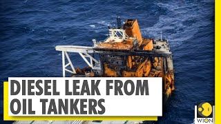 Oil tanker off Sri Lanka coast leaks diesel | Aircraft sprays chemicals to contain leak