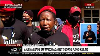 Economic Freedom Fighters leader Julius Malema has just led his party in a day of action in Pretoria this morning to protest the killing of George Floyd and highlight the issue of racism. Today's protest is in solidarity with black people who've been brutalized or killed at the hands of police in the United States.  The EFF says protests across the country will also highlight level 3 lockdown regulations. Our reporter Samkele Maseko is in Pretoria.  For more news, visit sabcnews.com and also #SABCNews, #Coronavirus, #COVID19 on Social Media.