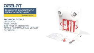 Red LED Exit & Incandescent Emergency Light--XM203