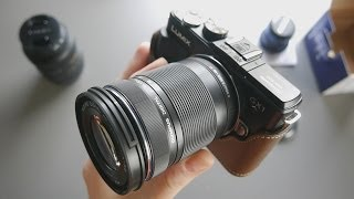 Olympus M. Zuiko 40-150mm f4-5.6 Micro Four Thirds Lens Unboxing and Size Comparison