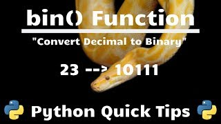 How to Convert Number to Binary In Python (bin() Function) - Python Quick Tips