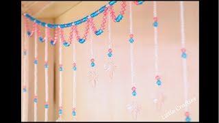 06:43 Handmade Door Hanging TORAN | Glass Beads Curtain | DIY Home Decor  Ideas | Little Crafties
