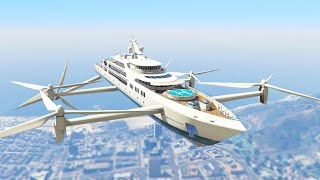 ULTIMATE FLYING SUPER YACHT MOD! (GTA 5 Mods Funny Moments)