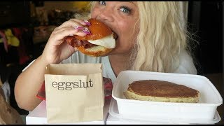 eggslut mukbang! | messy breakfast sandwich eating show | Kholo.pk